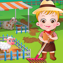 Mała Hazel na farmie