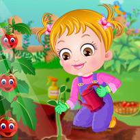 Mała Hazel w ogrodzie