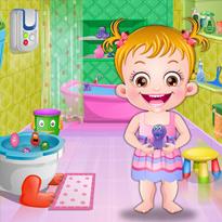 Mała Hazel w łazience